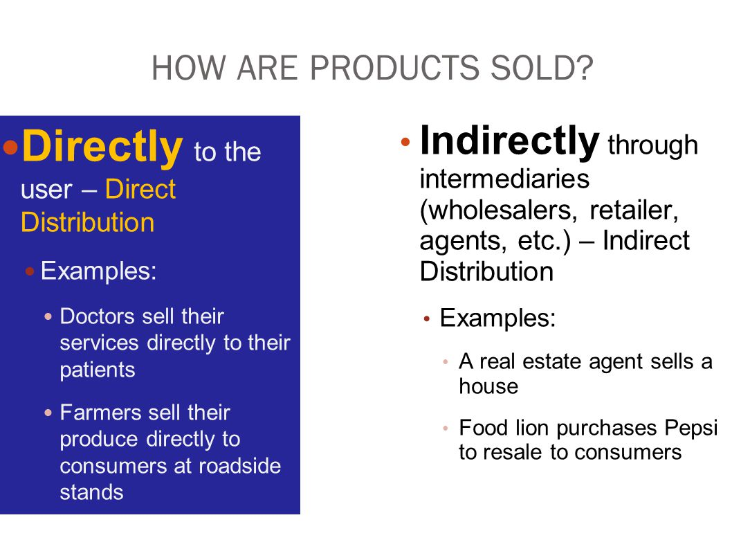 Directly to the user – Direct Distribution