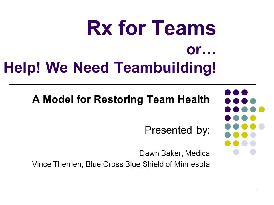 Rx for Teams or… Help! We Need Teambuilding!