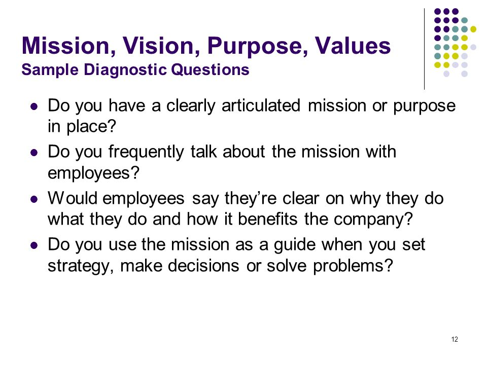 Mission, Vision, Purpose, Values Sample Diagnostic Questions