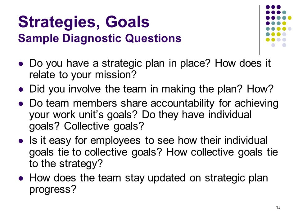Strategies, Goals Sample Diagnostic Questions