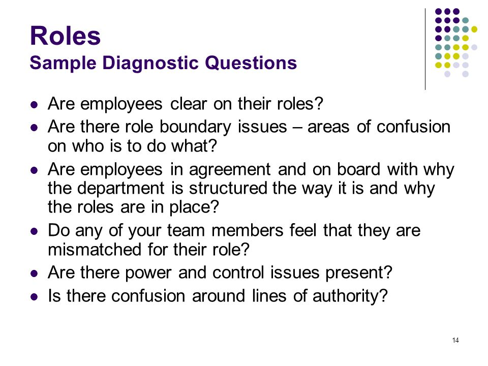 Roles Sample Diagnostic Questions
