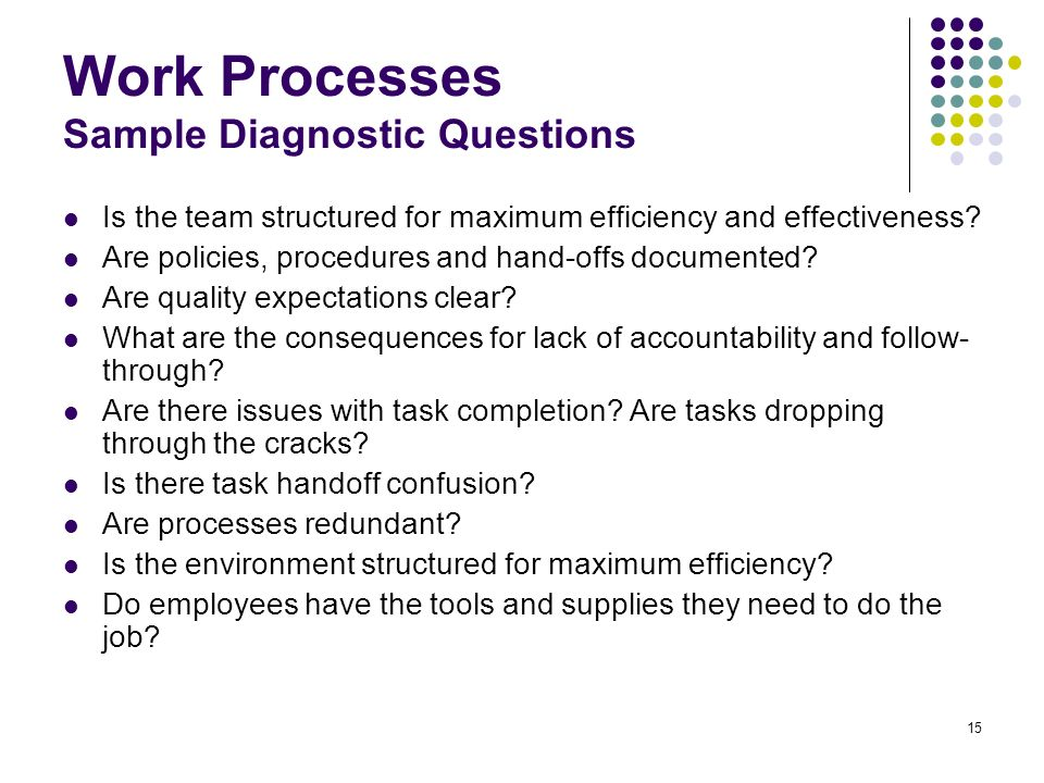 Work Processes Sample Diagnostic Questions