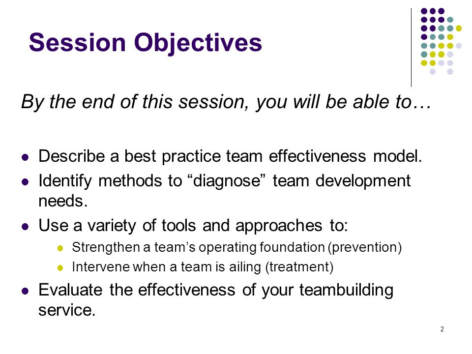 Session Objectives By the end of this session, you will be able to…
