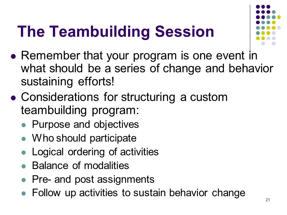 The Teambuilding Session