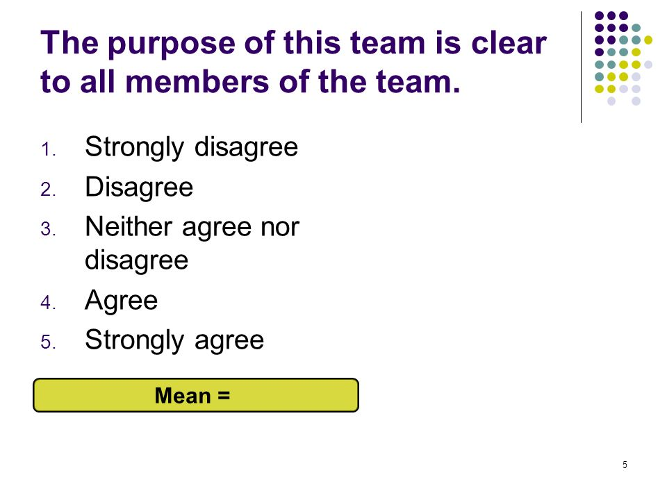The purpose of this team is clear to all members of the team.