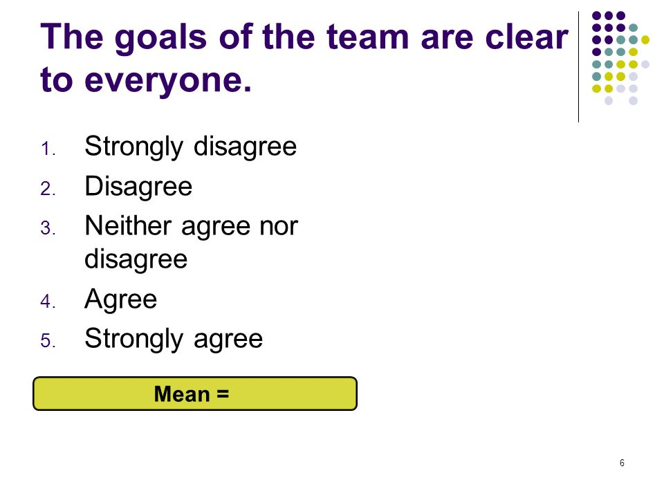 The goals of the team are clear to everyone.