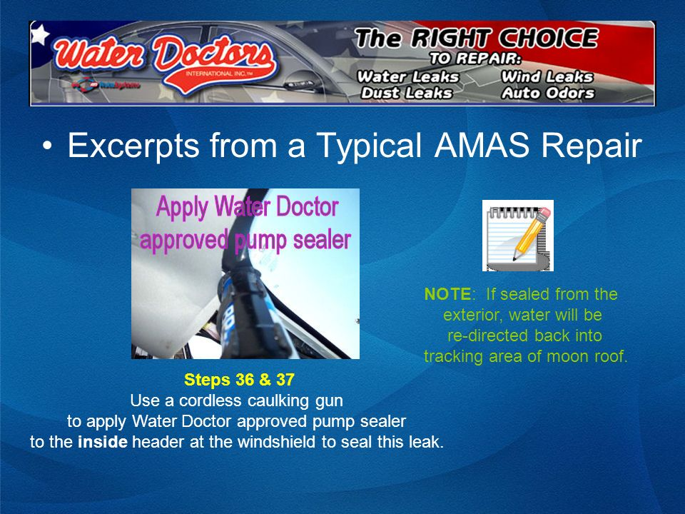 Excerpts from a Typical AMAS Repair