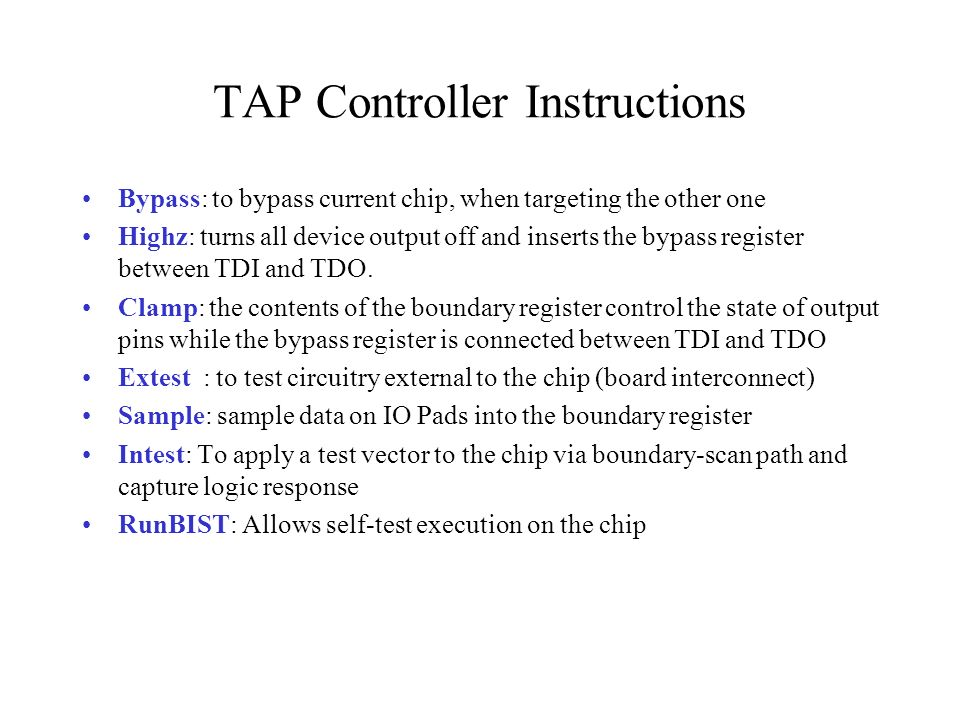 TAP Controller Instructions