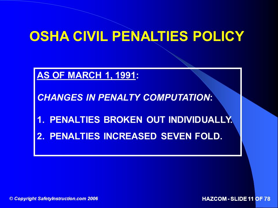 OSHA CIVIL PENALTIES POLICY