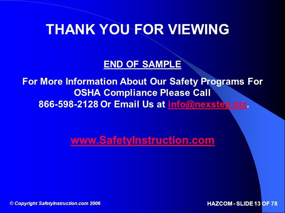 THANK YOU FOR VIEWING www.SafetyInstruction.com END OF SAMPLE