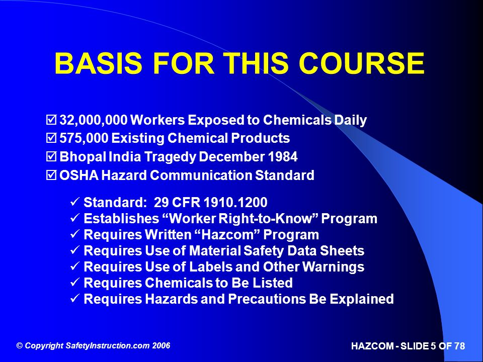 BASIS FOR THIS COURSE 32,000,000 Workers Exposed to Chemicals Daily