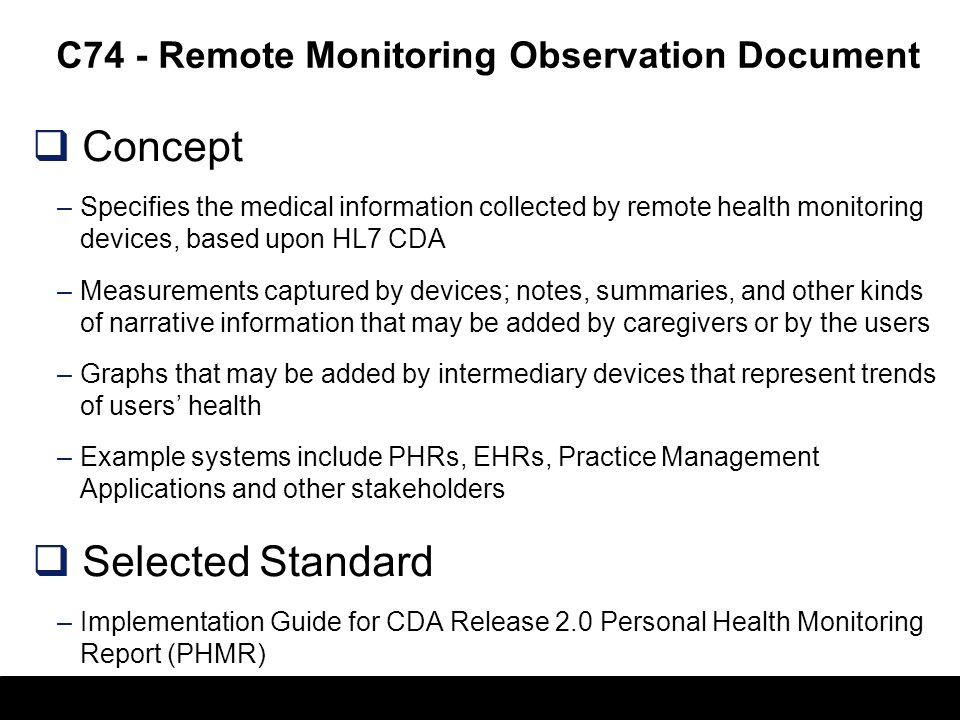 C74 - Remote Monitoring Observation Document