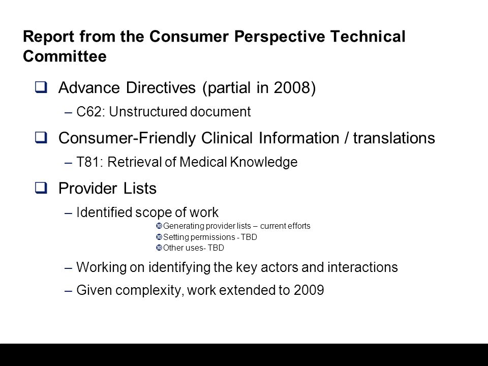 Report from the Consumer Perspective Technical Committee