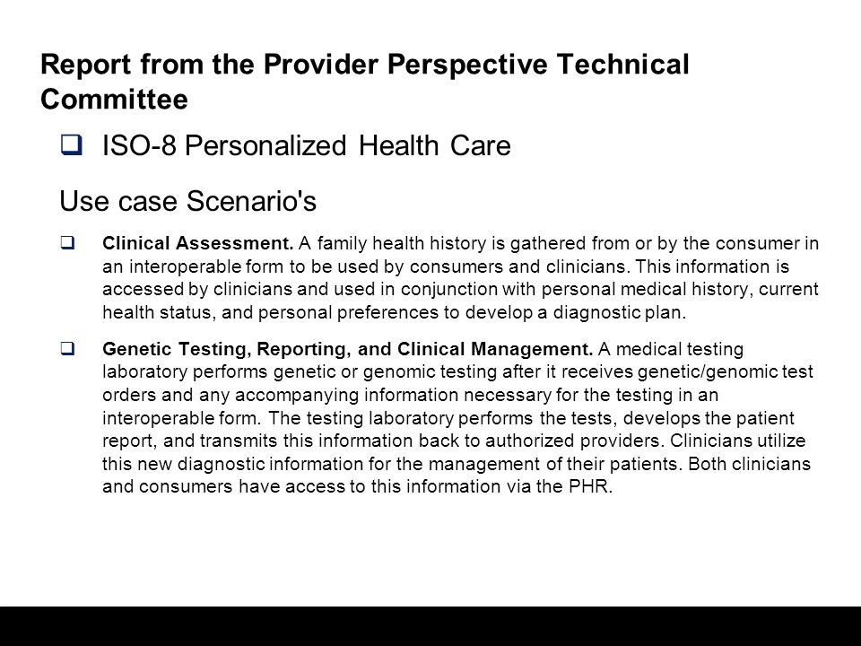 Report from the Provider Perspective Technical Committee