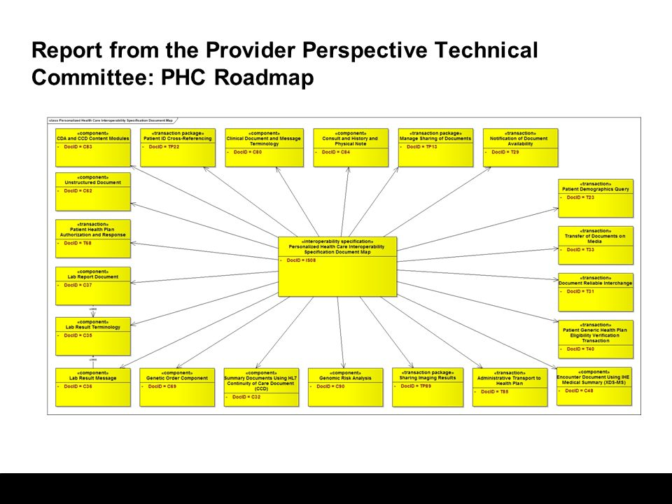 Report from the Provider Perspective Technical Committee: PHC Roadmap