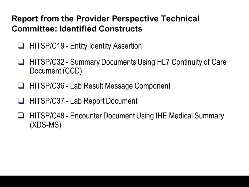 Report from the Provider Perspective Technical Committee: Identified Constructs