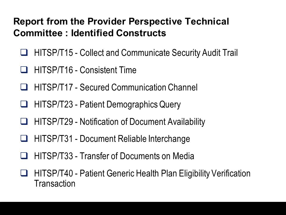 Report from the Provider Perspective Technical Committee : Identified Constructs
