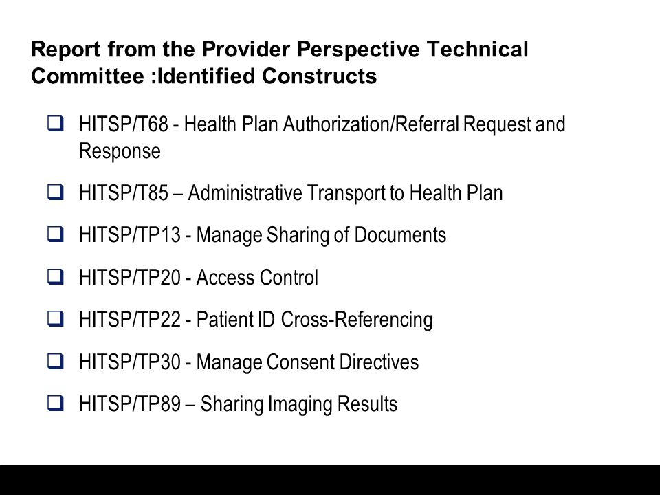 Report from the Provider Perspective Technical Committee :Identified Constructs