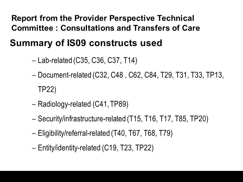 Summary of IS09 constructs used