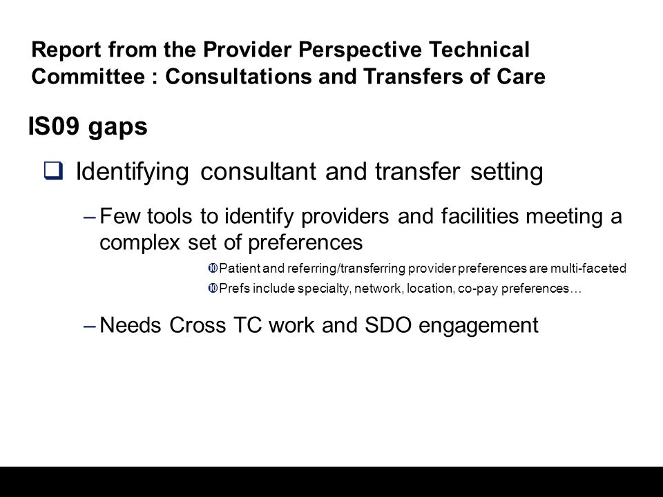 Identifying consultant and transfer setting