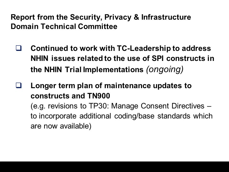 Report from the Security, Privacy & Infrastructure Domain Technical Committee