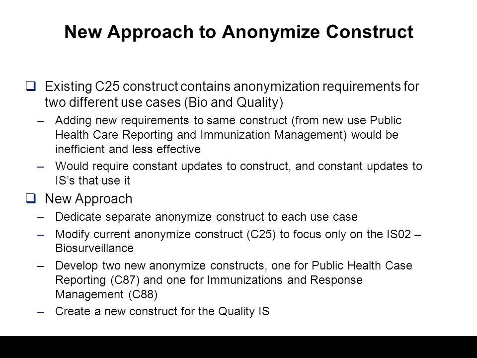 New Approach to Anonymize Construct