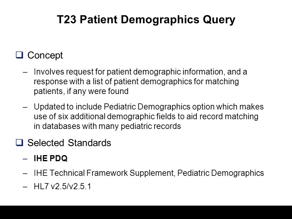 T23 Patient Demographics Query