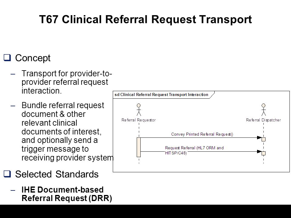T67 Clinical Referral Request Transport