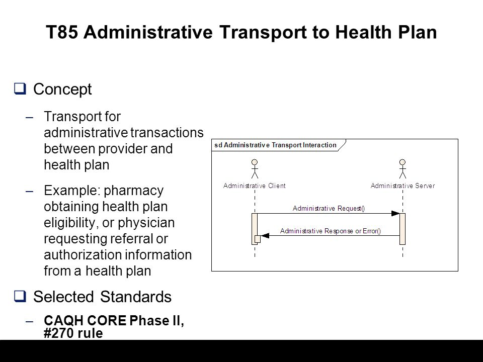 T85 Administrative Transport to Health Plan