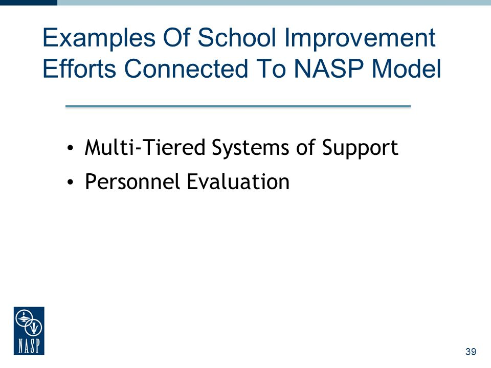 Examples Of School Improvement Efforts Connected To NASP Model