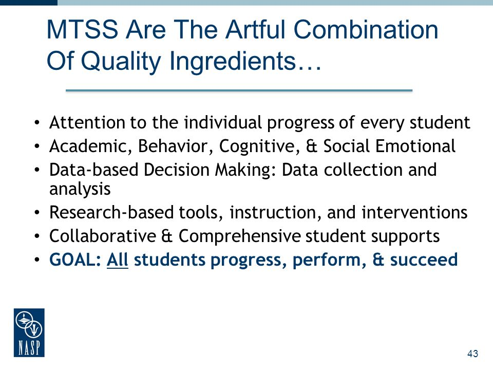 MTSS Are The Artful Combination Of Quality Ingredients…