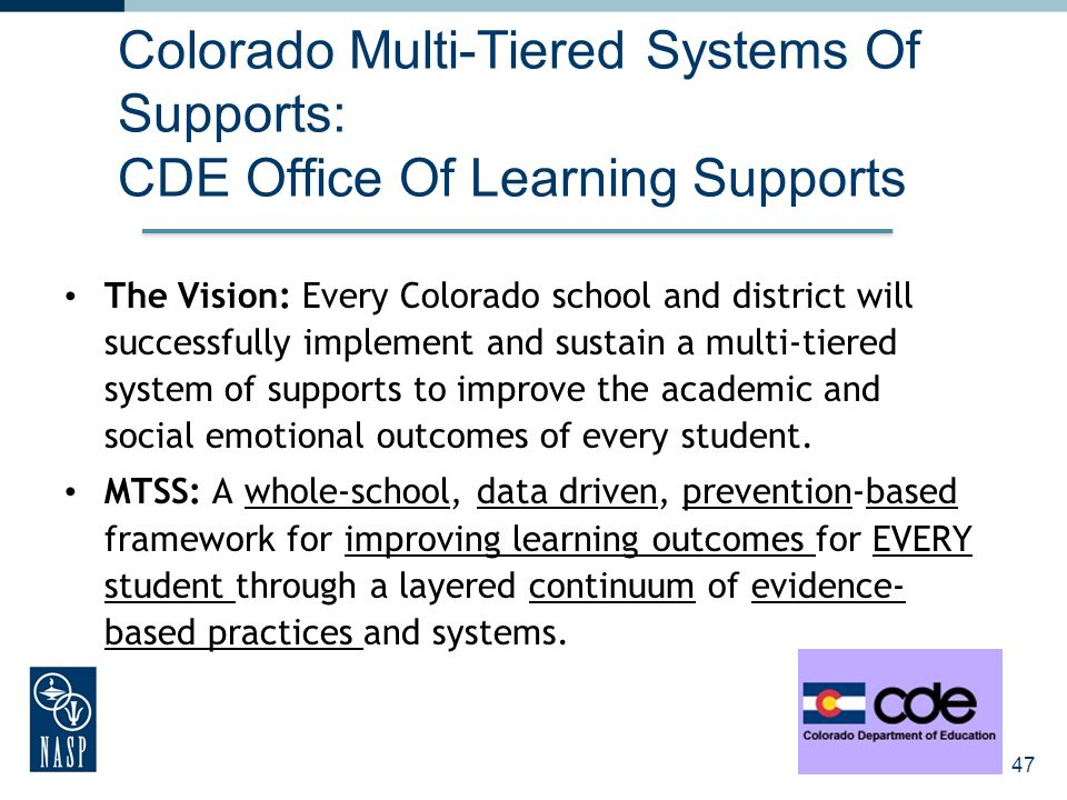 Colorado Multi-Tiered Systems Of Supports: CDE Office Of Learning Supports