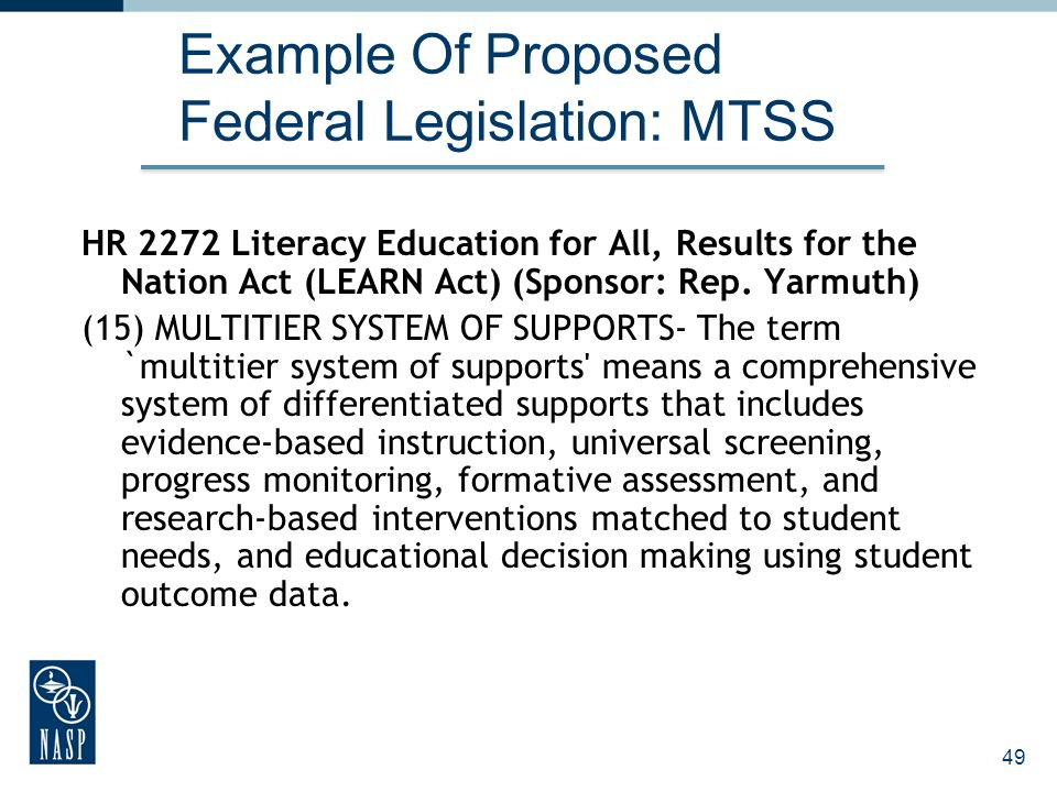 Example Of Proposed Federal Legislation: MTSS