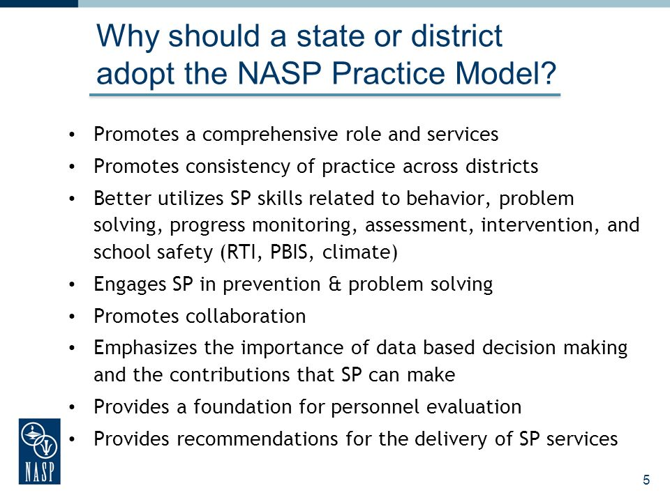 Why should a state or district adopt the NASP Practice Model