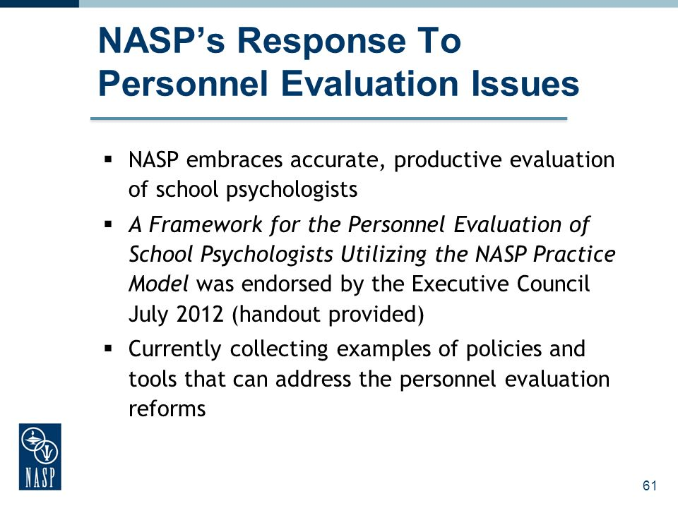 NASP's Response To Personnel Evaluation Issues