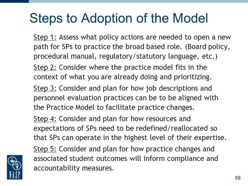 Steps to Adoption of the Model