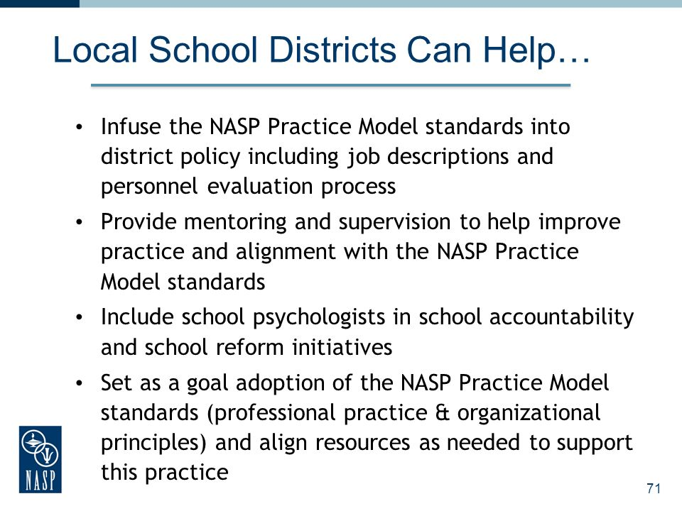 Local School Districts Can Help…