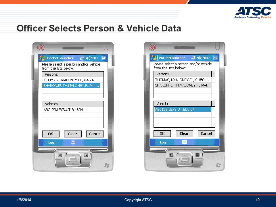 Officer Selects Person & Vehicle Data