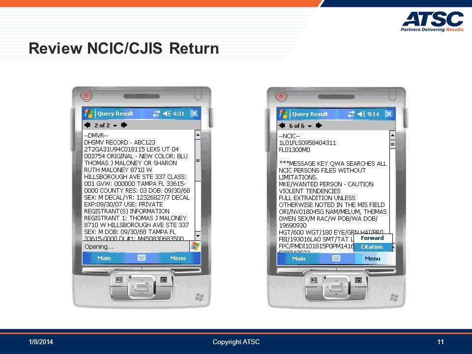 Review NCIC/CJIS Return