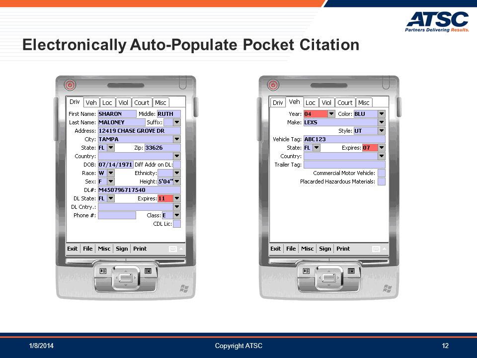 Electronically Auto-Populate Pocket Citation