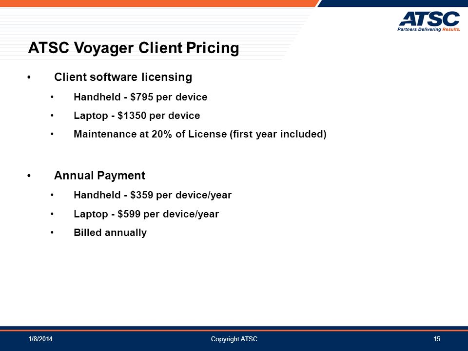 ATSC Voyager Client Pricing
