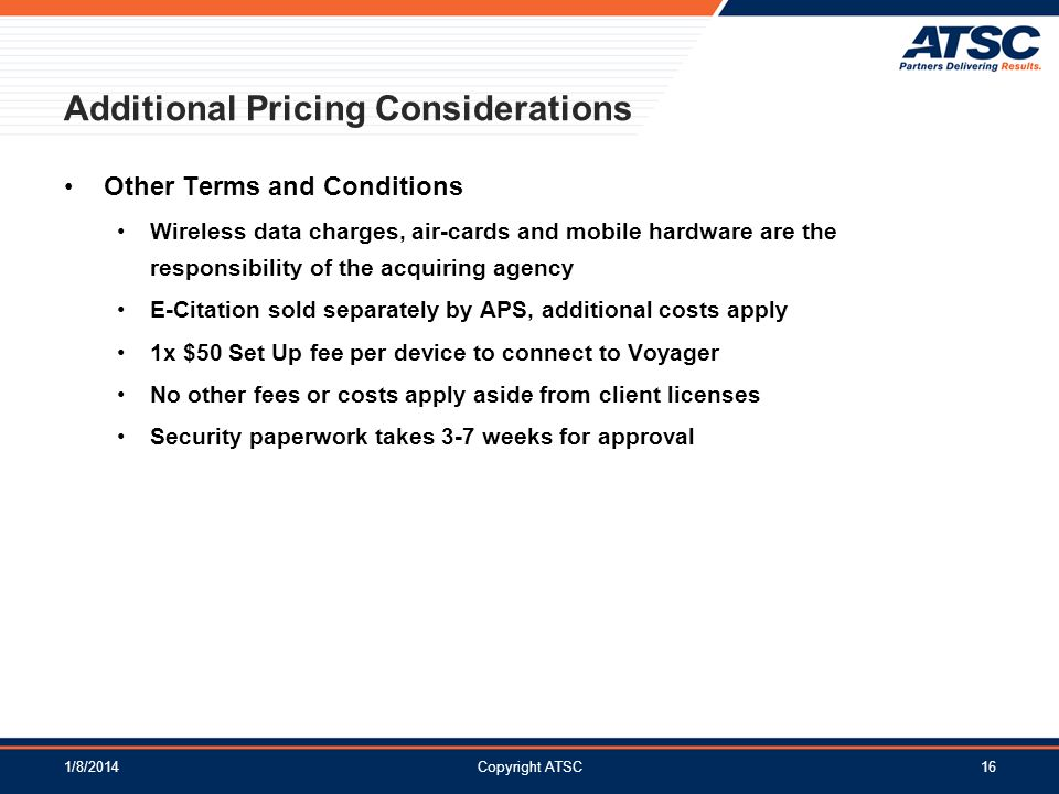Additional Pricing Considerations