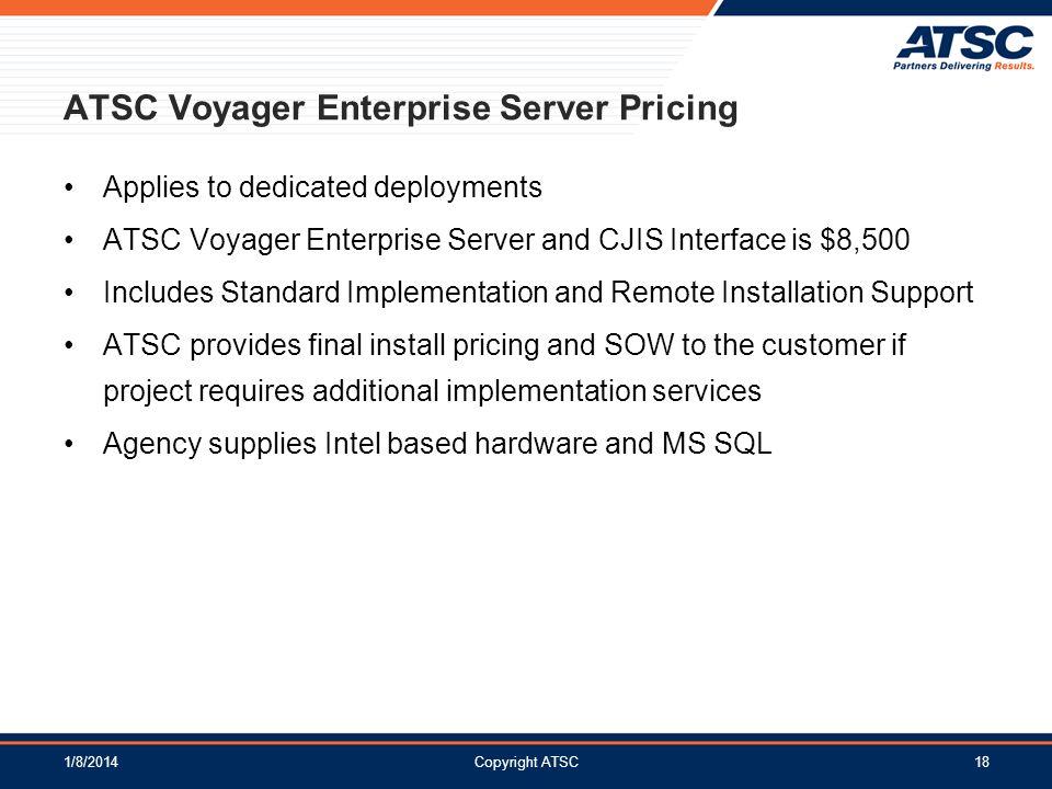 ATSC Voyager Enterprise Server Pricing