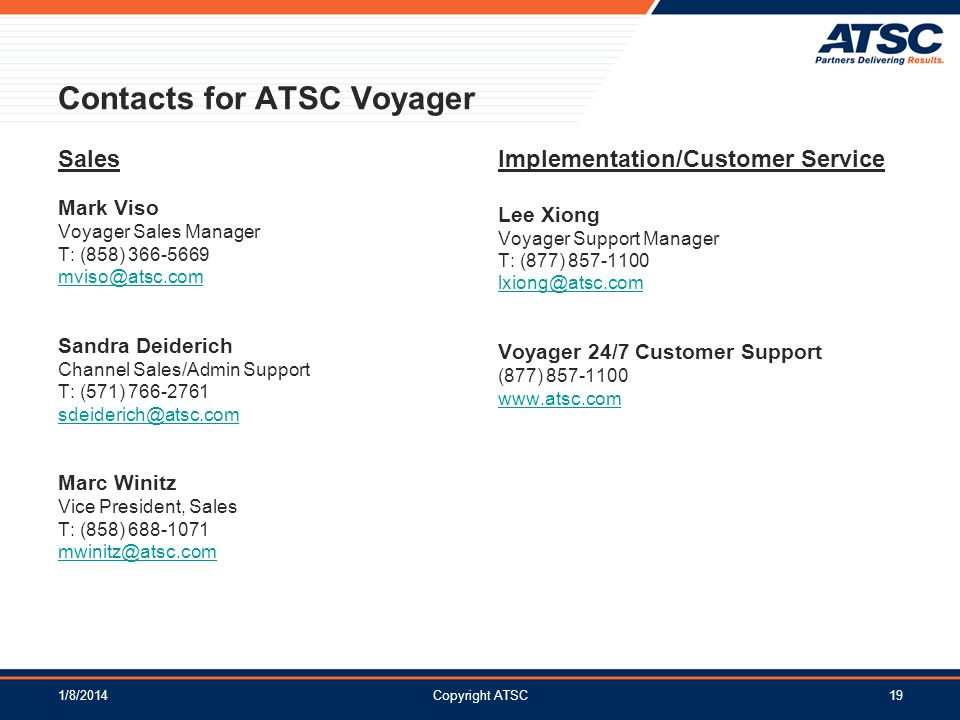 Contacts for ATSC Voyager