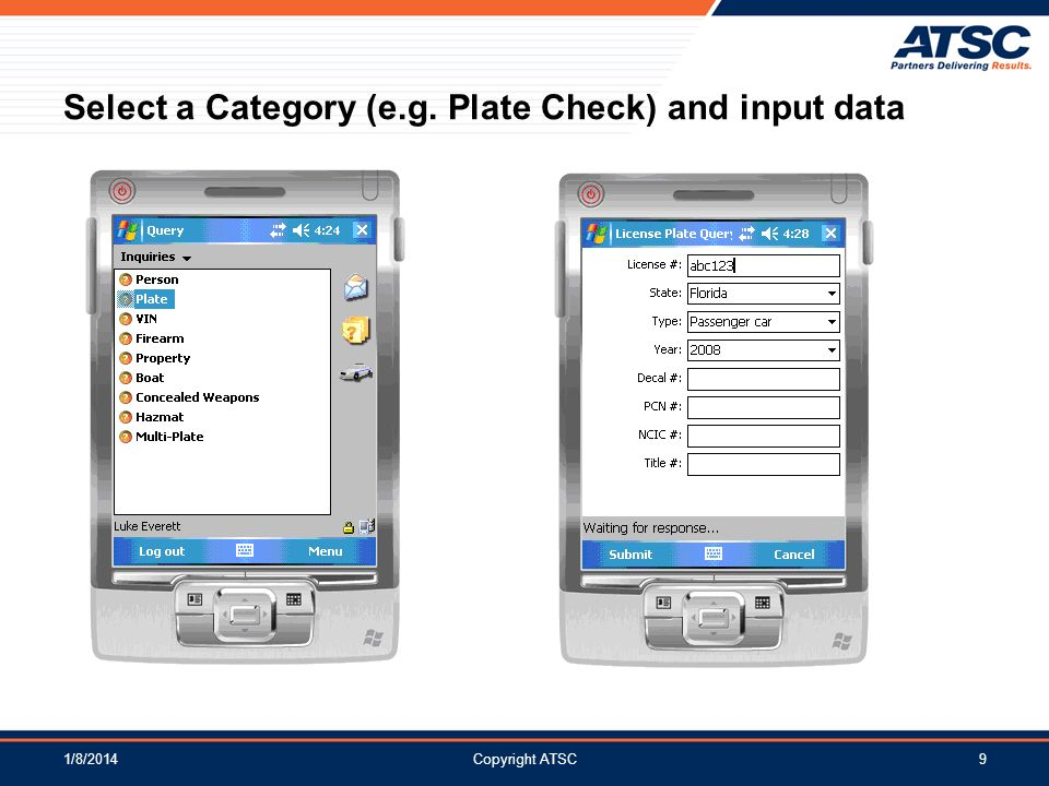 Select a Category (e.g. Plate Check) and input data