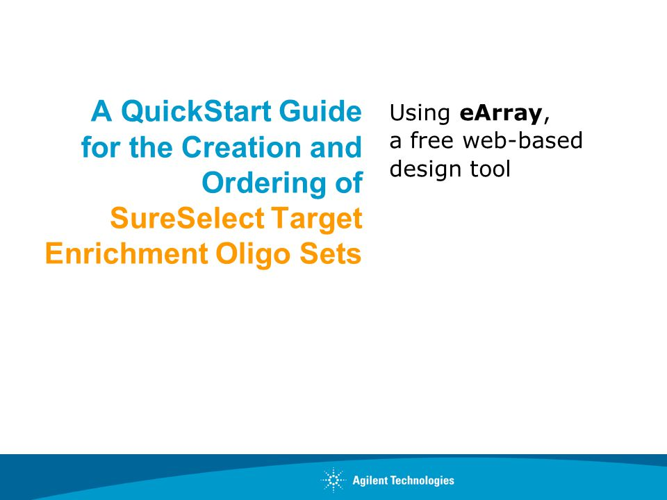 Using eArray, a free web-based design tool