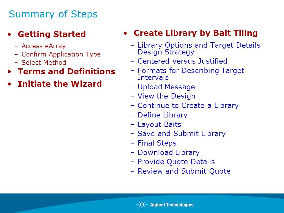 Summary of Steps Getting Started Create Library by Bait Tiling