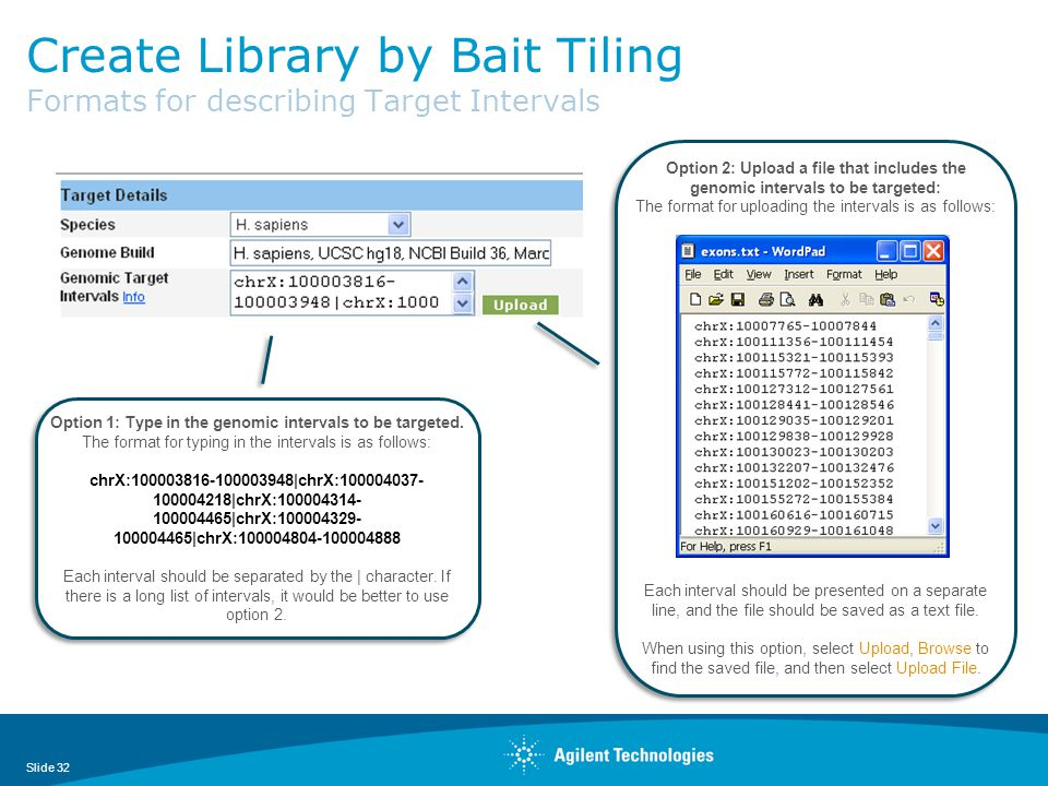 Create Library by Bait Tiling Formats for describing Target Intervals