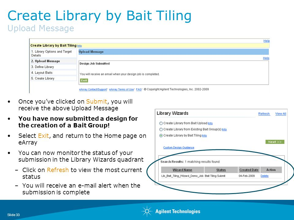 Create Library by Bait Tiling Upload Message