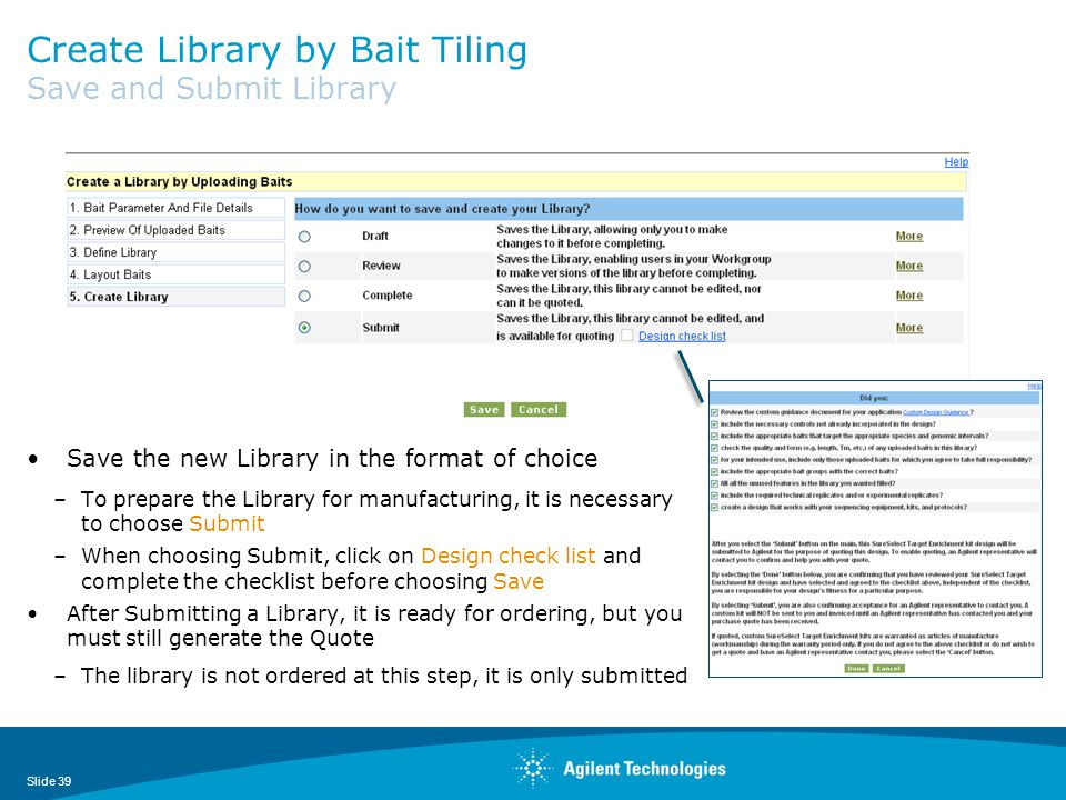 Create Library by Bait Tiling Save and Submit Library